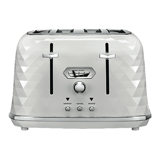 DELONGHI  BRILLANTE WHITE GLASS 4 SLICE TOASTER-CTJX4003W