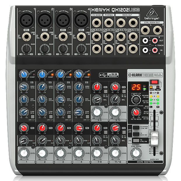 Behringer 12 Channel Mixer With EFX and USB-QX1202USB